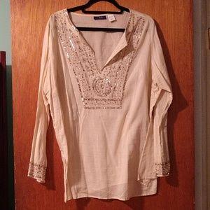 Tops - Tan beaded blouse